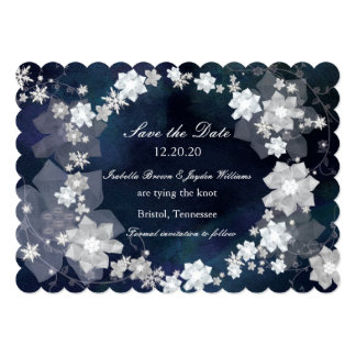 Jeweled Wreath Glam Winter Wedding Save the Date Card