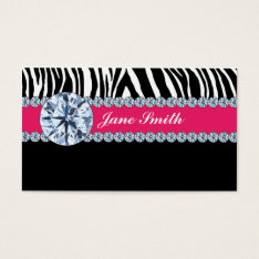 Jeweler Jewelry Zebra Print Diamond Sparkle Business Card at Zazzle