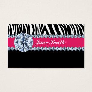 Zebra print business cards templates zazzle jeweler jewelry zebra print diamond sparkle business card colourmoves