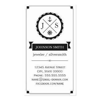 Jeweler / Silversmith - Retro Nautical Monogram Business Card