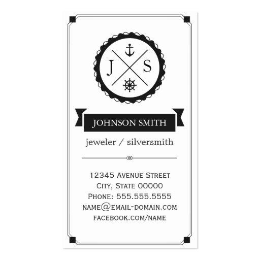 Jeweler / Silversmith - Retro Nautical Monogram Business Card Templates