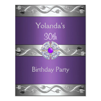 Jewelled Purple Silver 30th Birthday Party 2 4.25x5.5 Paper Invitation Card