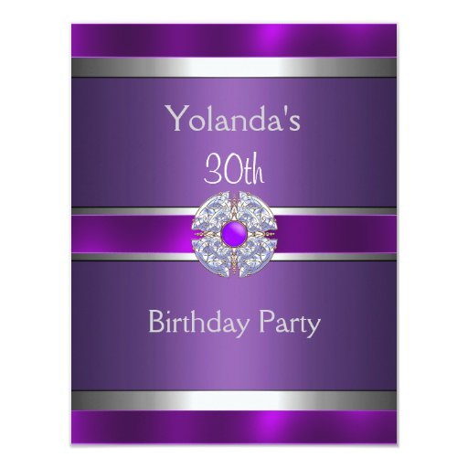 "Jewelled Purple Silver Trim 30th Birthday Party 3 4.25"" X 5.5"" Invitation Card"