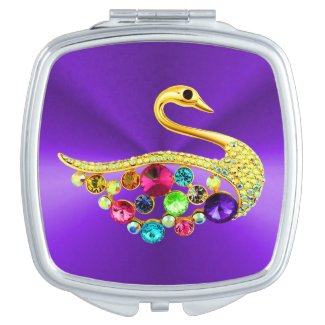 Jewelled Swan on Purple Compact Mirror