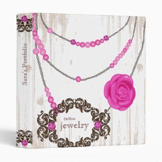 Jewelry Binder Portfolio Rose Necklace Brown Pink