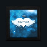 """Jewelry Box - Angel of the Heart<br><div class=""""desc"""">Create your own one of a kind jewelry/keepsake box. Beautiful white feather Angel wings with a white heart in between and a halo above. Has a beam of light shining down from the top and 3 little white floating hearts underneath with a blue and black starry night background. Personalize/customize your...</div>"""