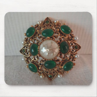 Jewelry Brooch Pearls Emeralds Gold Mouse Pad