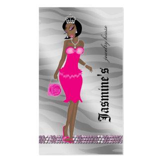 Jewelry Business Card African American Zebra Crown