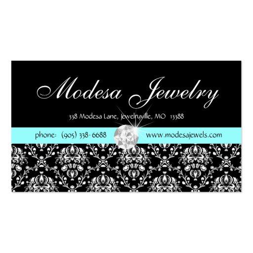 Jewelry Business Card Birthstones Damask Diamond b