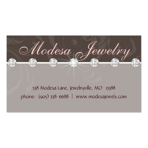 Jewelry Business Card Birthstones Swirls Taupe