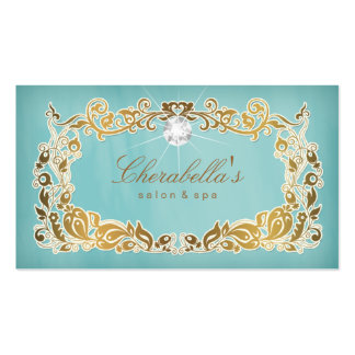 Jewelry Business Card Floral Blue Gold Frame