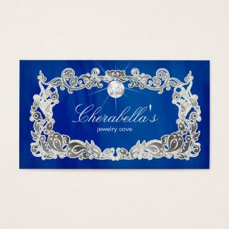 Jewelry Business Card Floral Blue Silver Diamonds