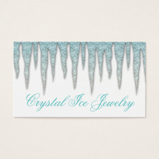 Jewelry Business Card Icicle Blue White
