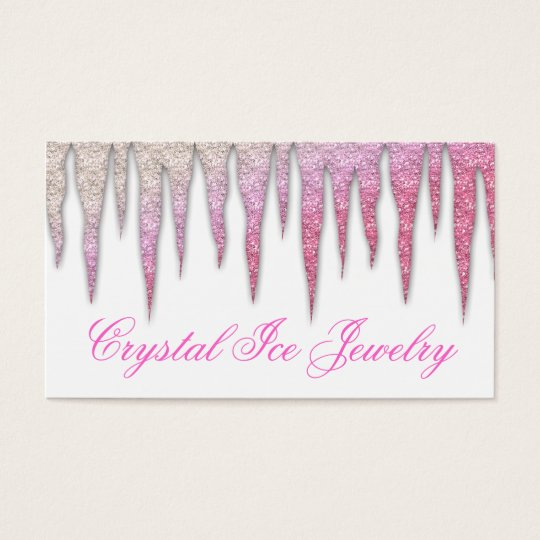 Jewelry Business Card Icicle Pink White