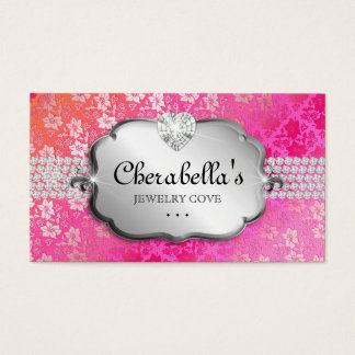 Jewelry Business Card Lace Pink Orange Heart