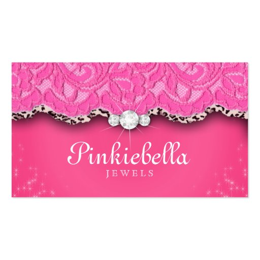 Jewelry Business Card Leopard Lace Pink