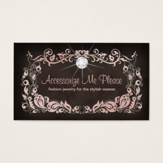 Jewelry Business Card Pink Brown Floral Frame 2