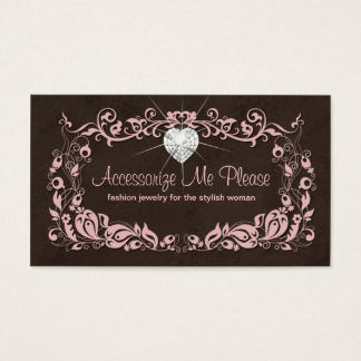 Jewelry Business Card Pink Brown Floral Heart