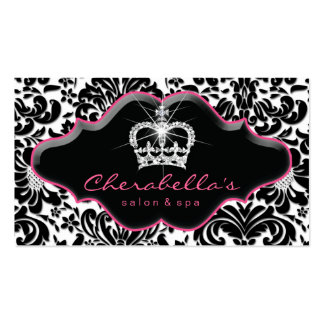 Jewelry Business Card Princess Crown Floral Damask