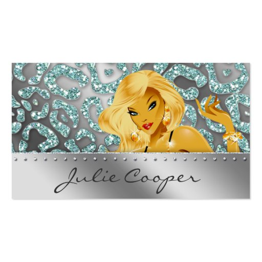 Jewelry Business Card Teal Blonde Leopard Tanning