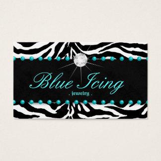 Jewelry Business Card Zebra Blue Dots Diamond