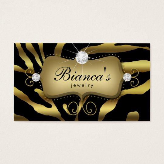 Jewelry Business Card Zebra Gold Diamonds