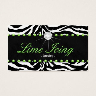 Jewelry Business Card Zebra Lime Dots Diamond
