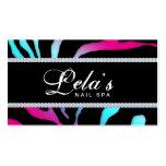 Jewelry Business Card Zebra Nail Salon Blue Pink