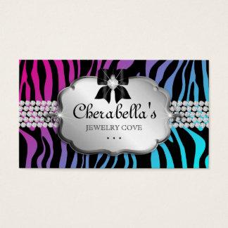 Jewelry Business Card Zebra Purple Blue Bow