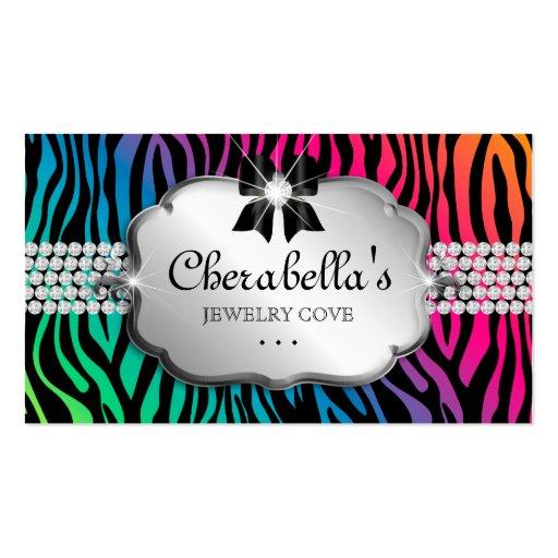 Jewelry Business Card Zebra Rainbow Bow Heart