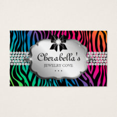 Jewelry Business Card Zebra Rainbow Bow Heart at Zazzle
