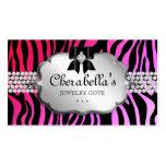 Jewelry Business Card Zebra Red Pink Bow