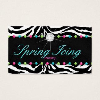 Jewelry Business Card Zebra Spring Dots Diamond