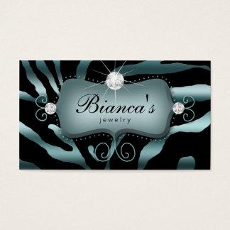 Jewelry Business Card Zebra Teal Diamonds