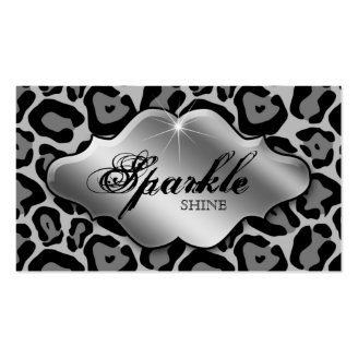 Jewelry Business Cards Animal Leopard Silver
