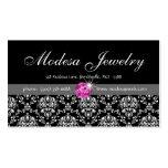 Jewelry Business Cards Birthstones Damask Pink CZ