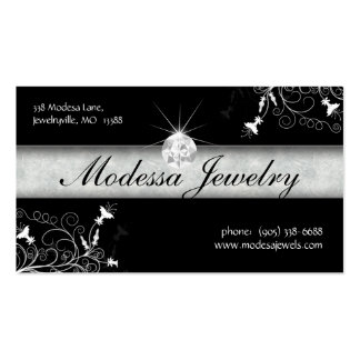 Jewelry Business Cards Birthstones Floral Black Wh