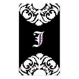 Jewelry Business Cards Damask Monogram Black