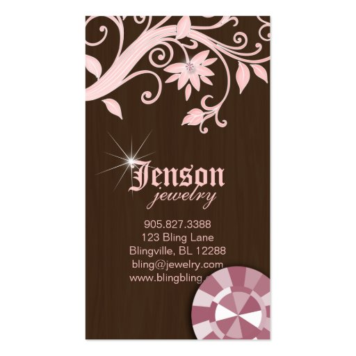 Jewelry Business Cards Flower Crystal Pink Sparkle (front side)