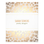 Jewelry Designer Faux Gold Leaf Circle Linen Look Flyers