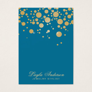 Jewelry Earring Display Card Gold Dots Blue