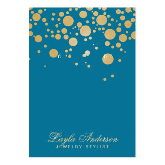 Jewelry Earring Display Card Gold Dots Blue Large Business Cards (Pack Of 100)