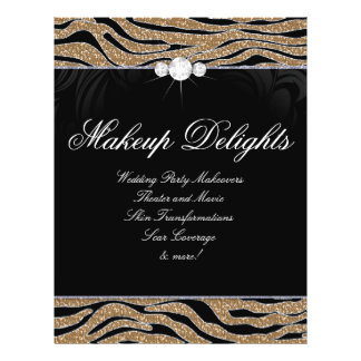 Jewelry Flyer Hair Salon Zebra Glitter Gold