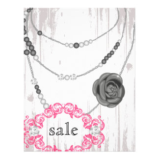 Jewelry Flyer Rose Necklace Gray Pink