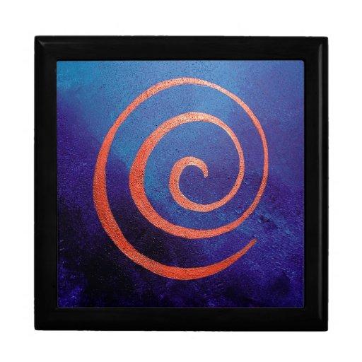Jewelry Gift Box Copper Spiral on Deep Blue Art