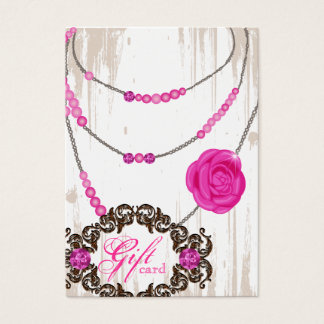 Jewelry Gift Card Rose Necklace Diamonds Pink Brow