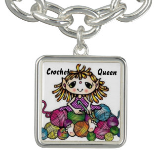 "Jewelry Hobby Series ""Crochet Queen"" Charm Bracelets"