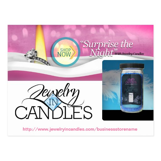 jewelry in candles promo postcards zazzle