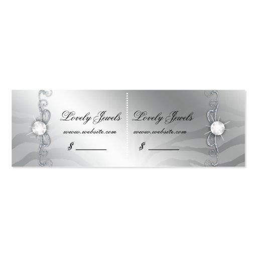 Jewelry Luxury Zebra Price Tag Pink Silver Sparkle Business Card Templates