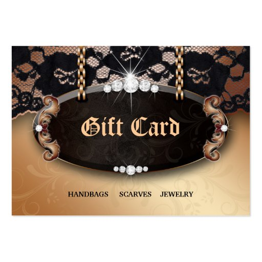 Jewelry N Lace Fashion Gold Gift Card Business Card Templates